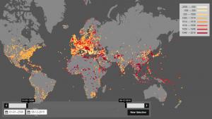 İnteraktif bir haritada, 8 bin 49 adet savaş ve bu savaşların meydana geldiği yerler gösteriliyor.