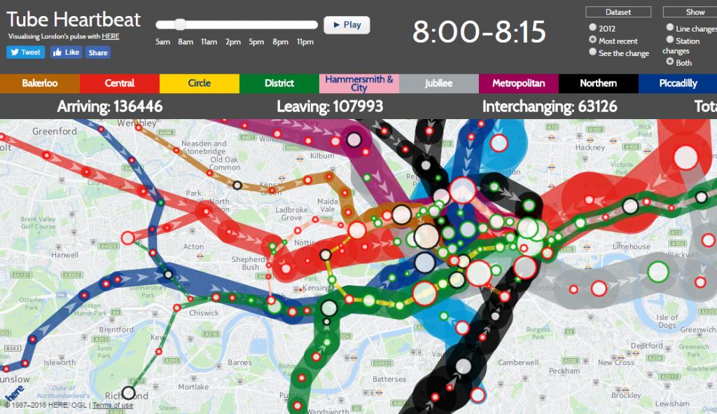 Tube Heartbeat'da Londra metrosuna ait bir trafik haritası yer alıyor.
